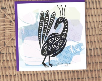 Indian ink illustrated Peacock card