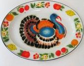 vintage enamelware Thanksgiving turkey serving platter