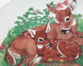 vintage 1985 lasting memories porcelain mother love plate with doe and fawn