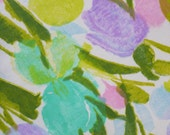 vintage fabric fat quarter (iris and tulip in watercolor effect)