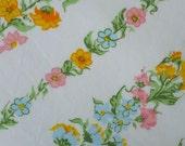 vintage sheet  fabric fat quarter (pink yellow blue flower stripes)