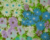vintage sheet fabric fat quarter (super saturated color lavender roses turquoise daisies and more)