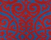 vintage bath towel (red and blue tattoo print)