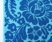 vintage pequot hand towel (cerulean and aqua blue flowers)