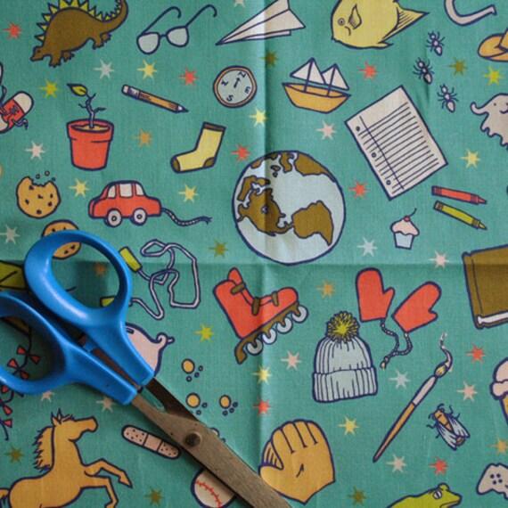 SALE - a boy's life - children's fabric - original fabric - fat quarter - turquoise