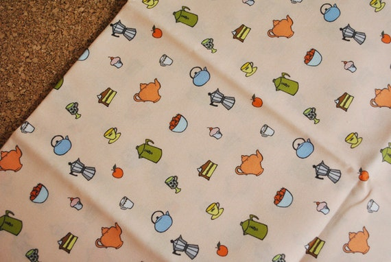 SALE - in the kitchen - kitchen fabric - original fabric - fat quarter - peach