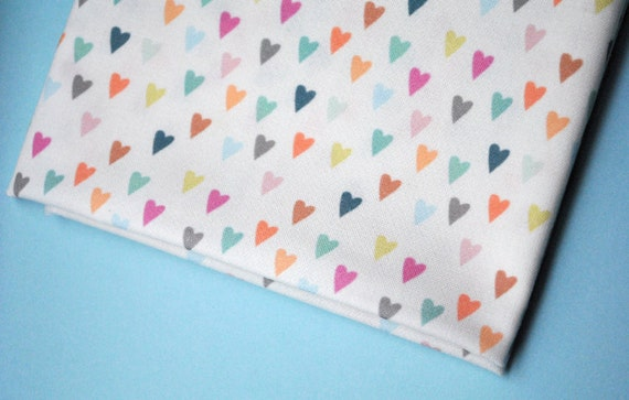 pastel hearts - original fabric - fat quarter - heart fabric