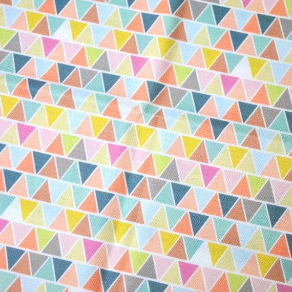 pastel triangles - pastel fabric - fat quarter - triangle fabric - geometric fabric