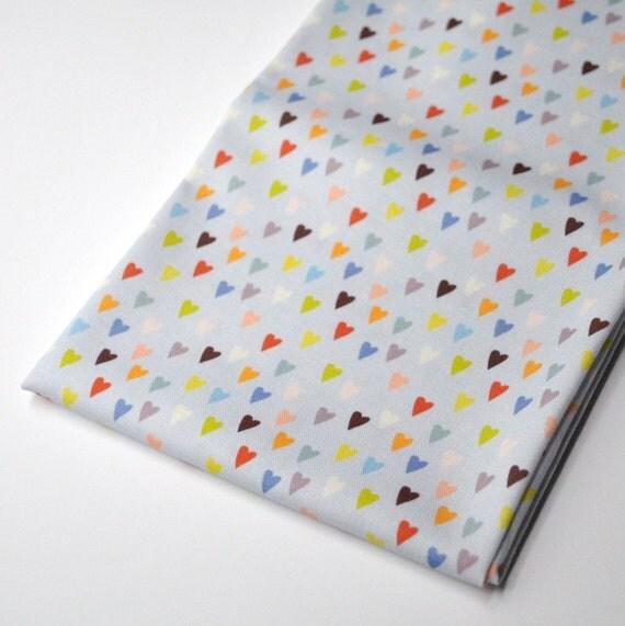 gray hearts - original fabric - fat quarter - heart fabric