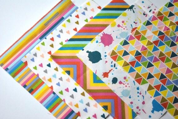 charm pack - rainbow brights - original fabric - charm squares