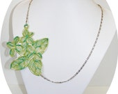 Clearance-  Springtime Beautiful Green Variegated embroidered necklace