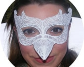White Lace Embroidered dove mask