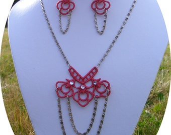 Deep Coral embroidered lace necklace and earring set  with antique silver myriad chain and handplace white rhinestones