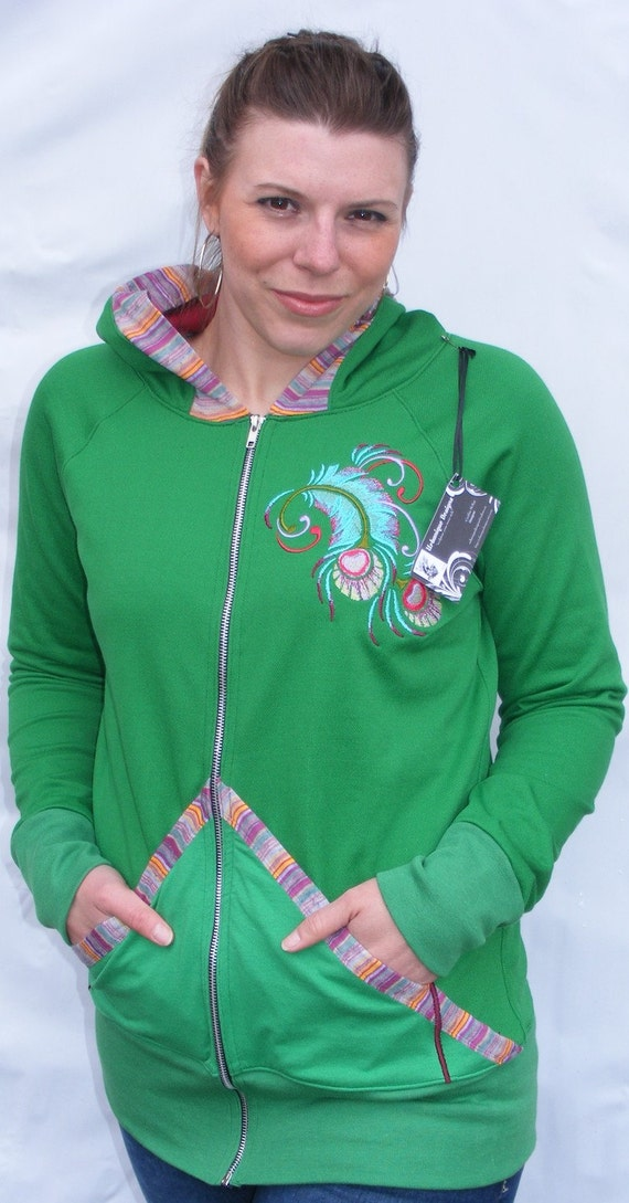 Clearance- summer SALE-ooak Clorina Abstact peacock feather green HAndmade Embroidered zip up hoodie