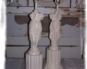 pair lamps vintage Greek Goddess shabby chic style white table lamp