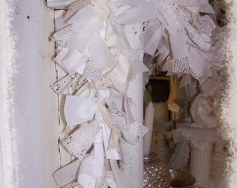 lace and ribbon Bliss GARLAND on lighted strand WHITE CHRISTMAS