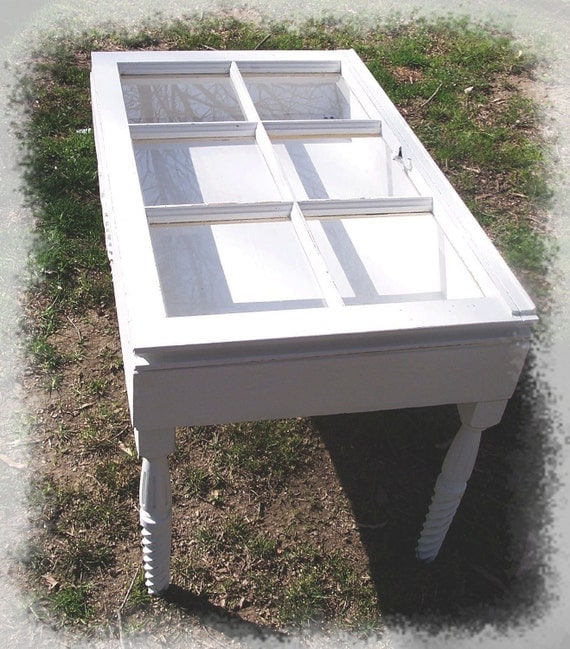 Vintage Window Curio Coffee Table Shabby Cottage White