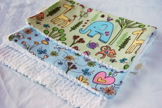 Burp Cloths - Garden Animal and Zoo (set of 2) green and blue