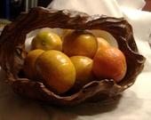 Wooden Carved Burl Basket