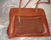 Vintage Brown Leather Shoulder Strap Handbag