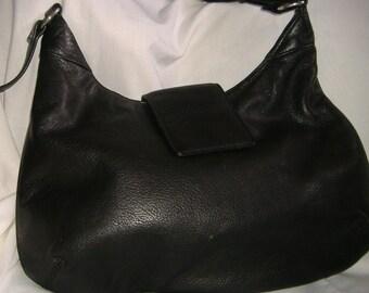 Vintage Black Leather Shoulder Handbag