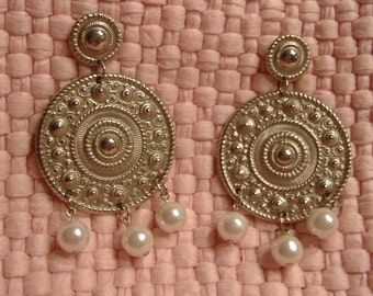 Vintage silver and pearl dangle earrings
