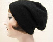 Pure Cashmere Rollup hat, slouch beanie, black.  FREE SHIPPING in the US