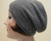 Pure Cashmere Rollup hat, slouch beanie, Grey. FREE SHIPPING in the US