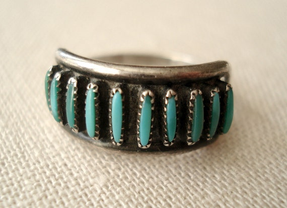 Vintage Turquoise and Silver Southwestern Ring