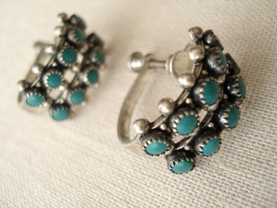 Vintage Native American Zuni Silver Hoop Earrings