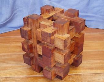 Vintage Handmade  Australian Timber 3D Cube Sculpture Puzzle