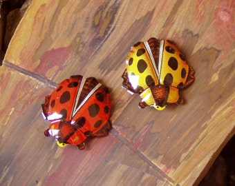 1970's Vintage Recycled Japanese Tin Lithograph Lady Bug Brooch Duo