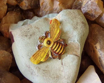 Vintage Recycled Japanese Lithograph Bee Brooch
