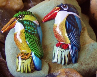 Vintage Tin Lithograph Recycled Kingfisher Brooch Duo