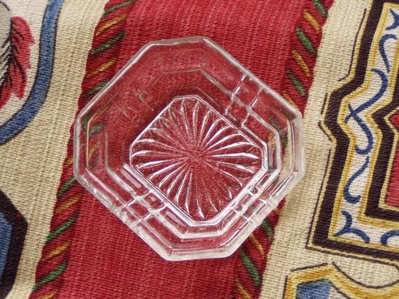 Vintage Miniature Art Deco Clear Glass Sun Ray Dish