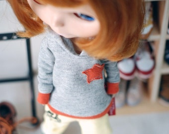 Blythe Star Orange hooded T