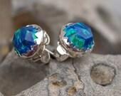 rose cut opal ear studs
