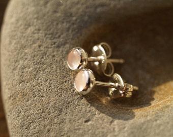 rose quartz ear posts