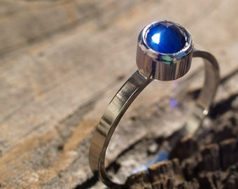 synthetic custom cut sapphire ring made to order