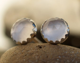 6mm rose cut rose quartz earrings
