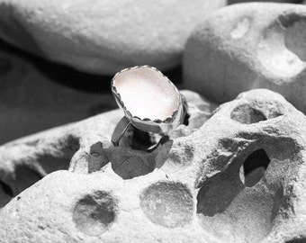 white sea glass ring, size 7 3/4