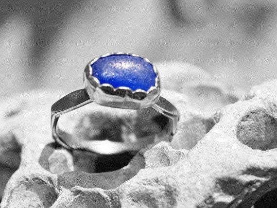 cobalt blue sea glass ring, size 8