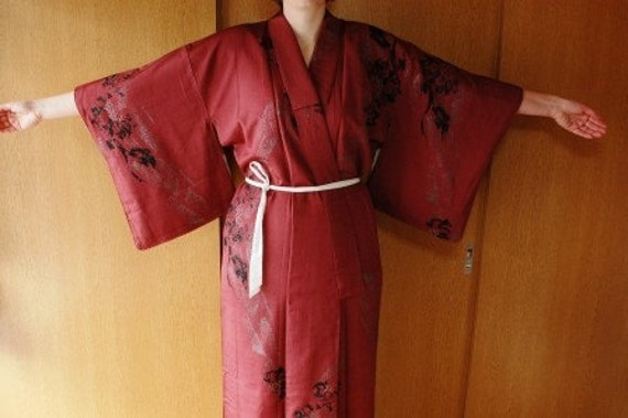 Kimono In Burgundy With Black Flower Motif, From Japan, Size L XL