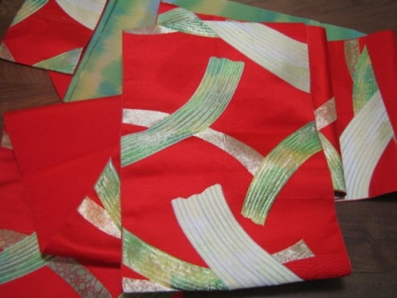 Red Obi With Delicate Abstract Design In Hues Of Green, Yellow, Gold, Organic Style, From Japan, Unique, Upcycling, Home Decor