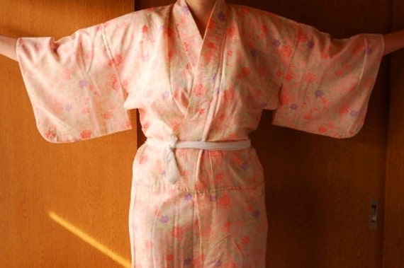 Pinkish Orange Nagajuban Underkimono Robe With Leaf Design, From Japan, Size L XL, Lingerie, Loungewear. Resort
