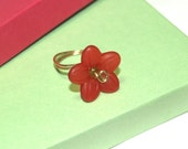 Wire Wrapped Red Flower Ring Timeless Design Promo 5.95  FREE SHIPPING