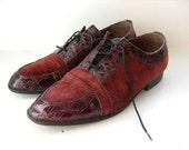 Men's Burgundy Leather Shoes, Retro Wingtip, 12