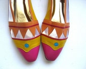 RESERVED FOR DEJAM - Mesh Ballerina Flats, Bright Colorful Leather Slip On Shoes, 10