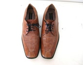 Men's Brown Leather Shoes, Snake Skin, 12 - SHOE BLOWOUT SALE
