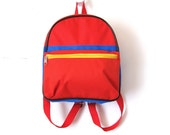 Vintage Canvas Backpack, Primary Colors, Red, SMALL